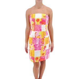 LILLY PULITZER Strapless Cotton Floral Dress #SS10